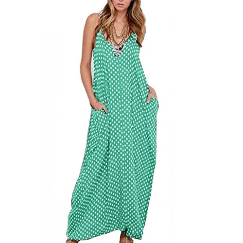 Wonderful-Girls-Show Women Casual Polka Dot Print Spaghetti Strap Boho Long Maxi Dresses,X-Large,Green