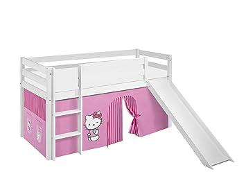 Etagenbett Hochbett Spielbett Kinderbett Jelle 90x200cm Vorhang : Lilokids spielbett jelle hello kitty hochbett mit rutsche und