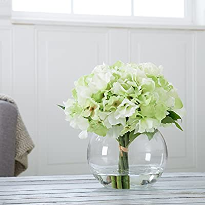 Pure Garden Hydrangea Floral Arrangement with Glass Vase - Green - Five Green Hydrangeas Flower material: synthetic fabric (PE) Vase material: glass - vases, kitchen-dining-room-decor, kitchen-dining-room - 51QrUxdjaAL. SS400  -