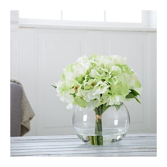 Pure Garden Hydrangea Floral Arrangement with Glass Vase - Green - Five Green Hydrangeas Flower material: synthetic fabric (PE) Vase material: glass - vases, kitchen-dining-room-decor, kitchen-dining-room - 51QrUxdjaAL. SS570  -