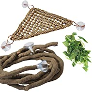 PINVNBY Bearded Dragon Hammock Jungle Climber Vines Flexible Reptile Leaves with Suction Cups Habitat Decor for Climbing, Chameleon, Lizards, Gecko, Snakes