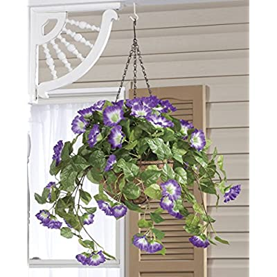 """OakRidge Miles Kimball Fully Assembled Artificial Petunia Flower Hanging Basket, 10"""" Diameter and 18"""" Chain – Polyester/Plastic Flowers in Metal and Coco Fiber Liner Basket for Indoor/Outdoor Use: Home & Kitchen"""