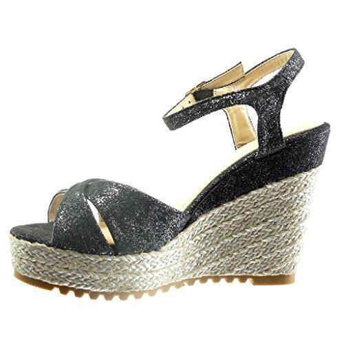 Angkorly - damen Schuhe Sandalen Espadrilles - Plateauschuhe - Seil Keilabsatz high heel 11.5 CM - Schwarz