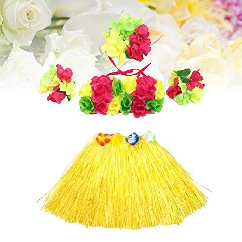 5Pcs Hawaii Tropical Hula Grass Dance Skirt Flower Bracelets Headband Bra Set 40cm (Yellow Skirt) by LUOEM (Image #4)