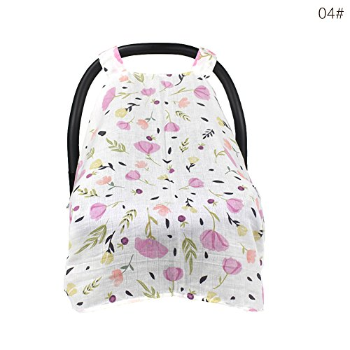 (Muslin Baby Car Seat Canopy Cart Stroller Carseat Covers Canopy Cover Windproof Sunshade with Straps)