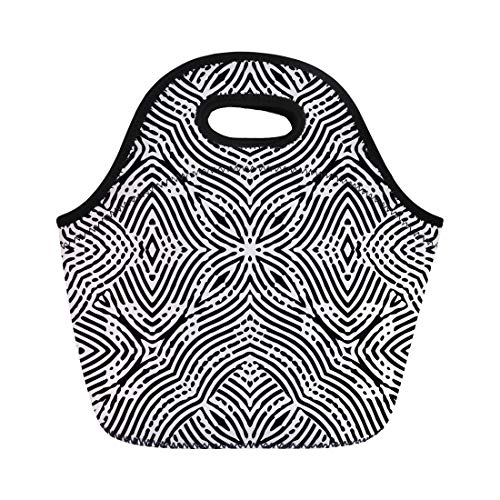 Semtomn Lunch Bags Abstract Monochrome Engraving for Certificate Diploma Currency and Money Neoprene Lunch Bag Lunchbox Tote Bag Portable Picnic Bag Cooler - Collection Guilloche