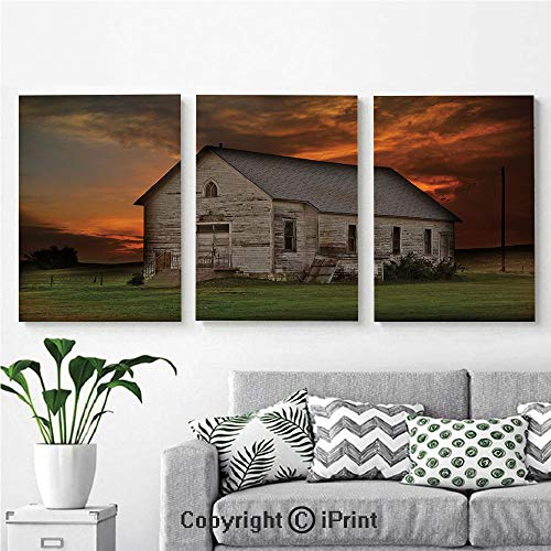 (Wall Art Decor 3 Pcs High Definition Printing Rustic Prairie Building in Western South Dakota USA Wooden House Grassland Painting Home Decoration Living Room Bedroom Background,16