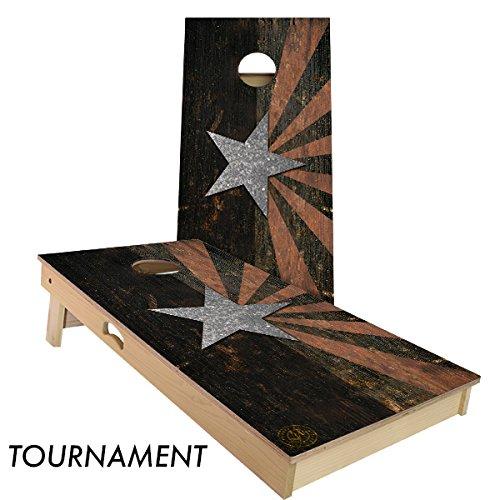 Rustic State Flag 4 by 2 feet Regulation Size Cornhole Boards Sets; 100% USA MADE | Slick Woody's Cornhole Company (Vintage Arizona)