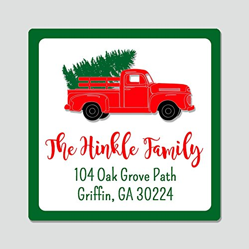 Oh Baby! Stickers & More 20 Personalized Square Christmas Tree Truck Address Labels - Christmas Themed Envelope Seals ()