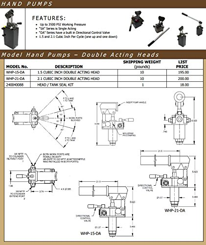 PRINCE Wolverine Double Acting Hand Pump - WHP-21-DA: Upto 3500 PSI Working Pressure, Double Acting Head Only, 224408
