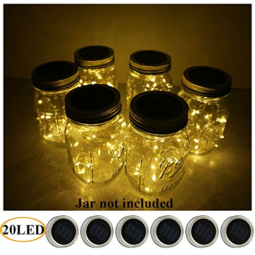 6 Pack Mason Jar Lights 20 LED Solar Warm White Fairy String Lights Lids Insert for Patio Yard Garden Party Wedding Christmas Decorative Lighting Fit for Regular Mouth (Winter Table Decoration Ideas)