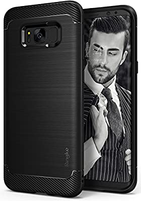 Galaxy S8 Plus Case, Ringke [Onyx] Fine Brushed Metal Design [Flexible & Slim] Dynamic Stroked Line Pattern Trim Durable Anti-Slip TPU Impact Shock-Absorbent Case for Samsung Galaxy S 8 Plus - Black