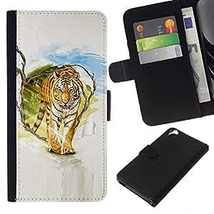 NEECELL GIFT forCITY // Billetera de cuero Caso Cubierta de protección Carcasa / Leather Wallet Case for HTC Desire 820 // Tigre Pintura Arte