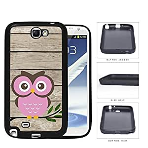 Pink Owl On Tree Branch With Wood Pattern Samsung Galaxy Note II 2 N7100 Hard Silicone PC Cell Phone Case