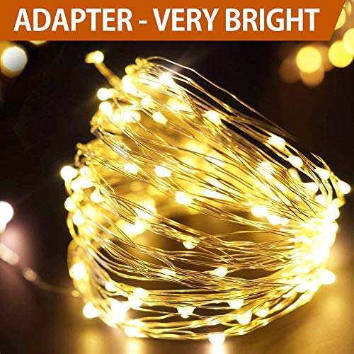 Bright Zeal 33' Very Bright LED Warm White Christmas String Lights White Wire - Warm White LED String Lights Plug in with Timer - Warm White Fairy Lights Plug in - Warm White Christmas Tree Lights