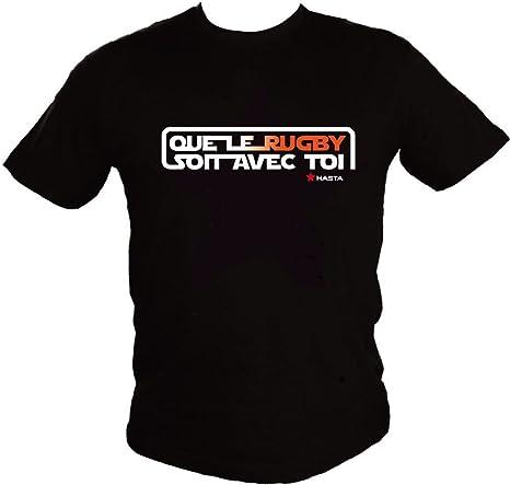 Hasta Le Rugby - Camiseta con texto «Que le Rugby Soit Avec Toi» y diseño de Star Wars - Regalo para el Día del Padre, Hombre, Negro , 5XL: Amazon.es: Deportes y