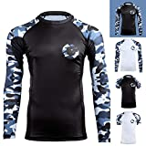 Gold BJJ Jiu Jitsu Rashguard - Camo Long Sleeve Rash Guard Compression Shirt for No-Gi, Gi, MMA (Black Camo, M)