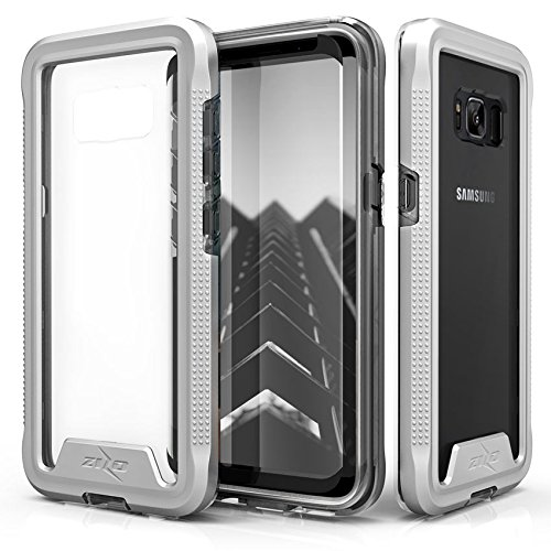 Zizo ION Series Compatible with Samsung Galaxy S8 Plus Case Military Grade Drop Tested with Tempered Glass Screen Protector Silver Clear