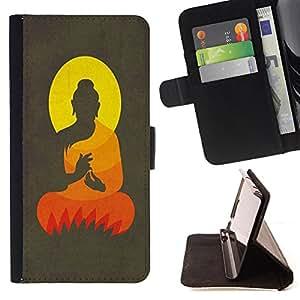 Super Marley Shop - Funda de piel cubierta de la carpeta Foilo con cierre magn¨¦tico FOR Apple Iphone 5C- Buddha