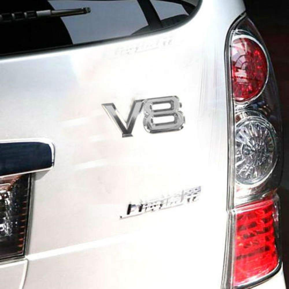 Emblema decorativo 3D de metal cromado para coche V8