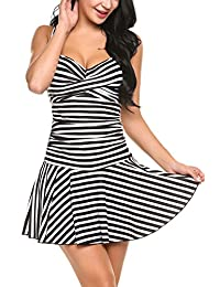 Avidlove Women's One Pieces Swimsuits Striped Slim Swimwear Padded Swim Dress