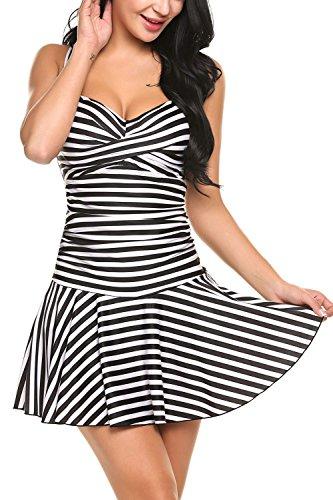 Sexy swimwear women one piece swim dress beach dress Black - 8