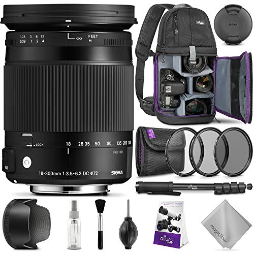 Sigma 18-300mm F3.5-6.3 Contemporary DC Macro OS HSM Lens for Nikon DSLR Cameras w/Advanced Photo and Travel Bundle