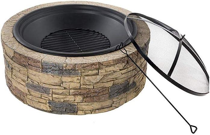 ZWH-Brasero Exterior Estufa Fogón Al Aire Libre Cuenco Redondo Carbón O Leña Calefacción Brasero Imitación De Piedra del Grano De Madera Patio Decoración del Hotel (Color : B): Amazon.es: Hogar