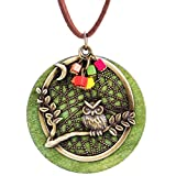 Mrsrui Green Wood Tree Owl Leather Sweater Necklace Bronze Tone Christmas Birthday Gift For Women Girl