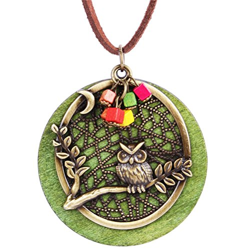 Mrsrui Green Wood Tree Owl Leather Sweater Necklace Bronze Tone Christmas Birthday Gift For Women Girl by Mrsrui