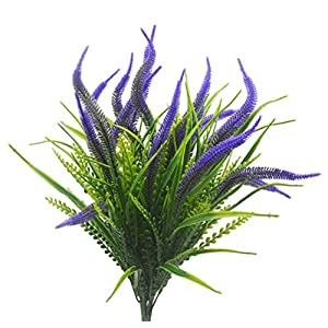Artificial Plants Flowers, 4pcs Faux Plastic Setaria Shrubs Simulation Greenery Bushes Indoor Outside Home Garden Office Wedding Decor (Purple Setaria) 2