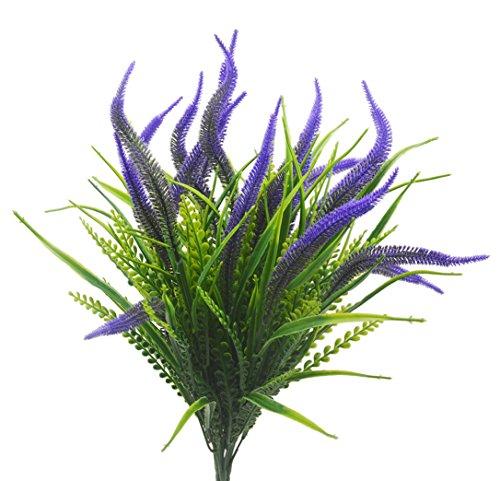 Artificial Plants Flowers, 4pcs Faux Plastic Setaria Shrubs Simulation Greenery Bushes Indoor Outside Home Garden Office Wedding Decor (Purple Setaria)