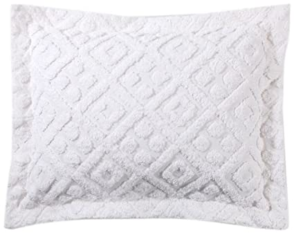 NEW Stylemaster Diamond Beige Cotton Chenille Bedspread and Sham Set
