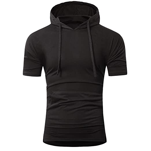 ea289427 BSGSH Short Sleeve Hoodie for Men Hipster Hip Hop Solid Pullover Shirt with  Kanga Pocket (