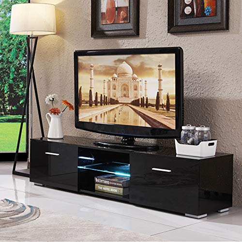 "Mecor High Gloss TV Stand, 63"" TV Unit with LED Lights Console Storage Cabinet with 2 Drawers for Living Room (Black-63"