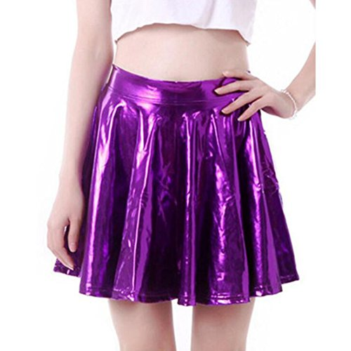 Hibote Sexy Shiny Liquid mtallis Wet Look Flared Jupe patineuse plisse Violet