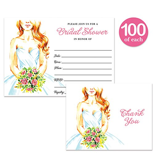 Bridal Shower Invitations & Thank You Cards with Envelopes ( 100 of Each ) Pretty Bride Matching Set Fill-in Invites & Folded Thank You Notes Wedding Party Gift Thanks Great Value Combination Pair by Digibuddha