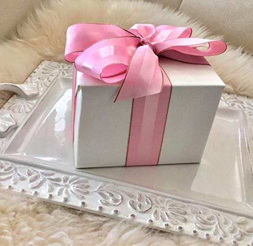 Pink and Rose Gold Grosgrain Ribbon, 1 1/2 inch, 30 Yards, 10 Yards Per Roll, Double Face, 1.5 Inch, Finely Woven Premium Fabric Ribbon with Metal Trim for Gifts, Party Favors, Baby Showers, Crafts