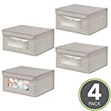 mDesign Soft Stackable Fabric Closet Storage Organizer Holder Box - Clear Window, Attached Hinged Lid, for Child/Baby Room, Nursery, Playroom - Medium, Pack of 4, Zig Zag Pattern in Taupe/Natural