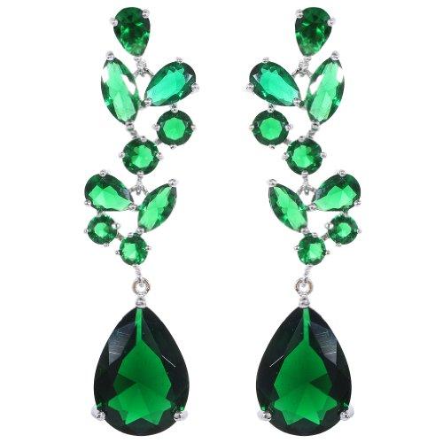 YAZILIND Chandelier Leaves Silver Plated Teardrop Green Cubic Zirconia CZ Flawless Post Dangle Earrings