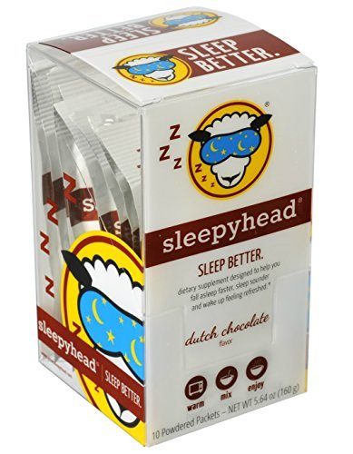 Sleepyhead Melatonin, Valerian, GABA Powdered Sleep-Aid Drink Dutch Chocolate Flavor (serve hot) Qty: 10 Absolutely Delicious Packets by - Packets 10 Drink Hot