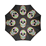 Cheap Sugar Skull Dia De Los Muertos Folding Windproof outdoor Travel Umbrella for Women