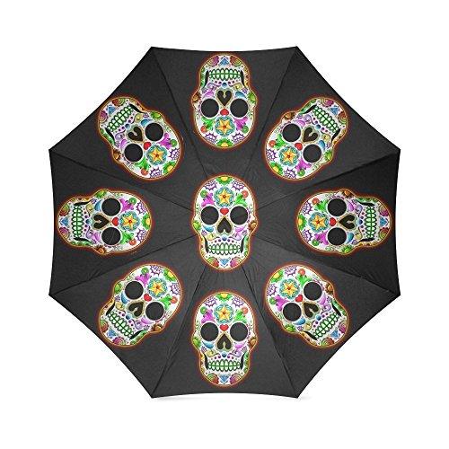 Cheap Sugar Skull Dia De Los Muertos Folding Windproof outdoor Travel Umbrella for Women