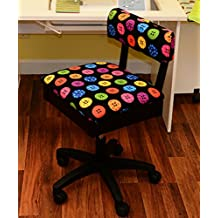 Arrow Hydraulic Sewing Chair - With Riley Black Button Motif Fabric