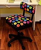 Cheap Arrow Sewing Cabinets Arrow Hydraulic Sewing Chair with Riley Black Button Motif Fabric