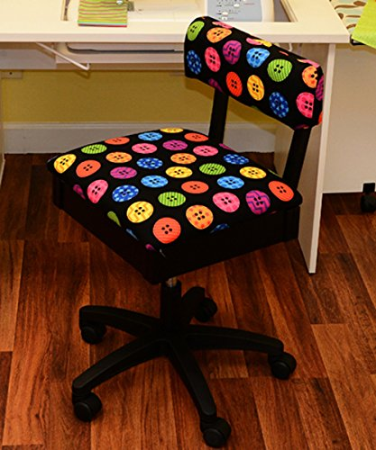 Arrow Hydraulic Sewing Chair - With Riley Black Button Motif Fabric by Arrow Sewing Cabinets