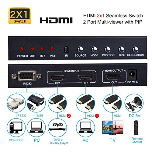 HDMI 2X1 MultiViewer, 1080P 2 in 1 Out HDMI Switch Screen