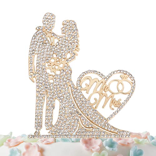 (Mr and Mrs Cake Topper Rhinestone Crystal Metal Love Wedding Cake Topper Funny Bride and Groom Cake Topper Gold )