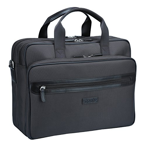 Expandable Zipper Computer Brief (Ronts Men's Laptop Computer Organizer Briefcase Zipper Business Messenger Bag)