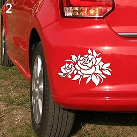 WMING Home Amovible Rose Motif Bonnet Carrosserie Fen/être Autocollant Anti-Rayures pour Ford Mercedes-Benz BMW Audi Volkswagen Passat D/écapotable ☆ Blanc Color : White